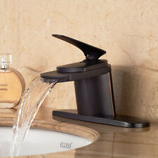 "Oil Rubbed Bronze Waterfall Bathroom Basin Faucet Vanity Sink Mixer W/ 10"" Plate"