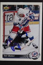 Troy Murray Jets Autographed 1992/93 Upper Deck #129 Hockey Card JSA 16H