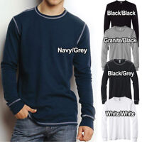 Canvas Mens Thermal T-Shirt Long Sleeve Contrast Stitch Sizes S-2XL Mini Waffle