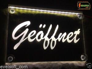 """LED Leuchtschild """"Geöffnet"""" weiß Open Schaufenster Laden Geschäft Werbung ©faunz"""