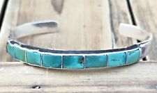INLAY Sterling Silver TURQUOISE Square ROW Navajo Native Cuff Bracelet Vintage