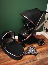 Babystyle Oyster 2 Limited Edition Rose Gold pram and pushchair black