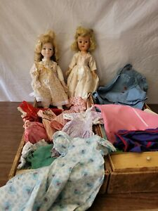 """Antique Vintage  Dolls with Trunk and Clothes Outfits 16"""""""