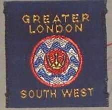 GREATER LONDON South West RARE SCOUTS/GUIDES CLOTH BADGE MINT VINTAGE  40 x 40mm