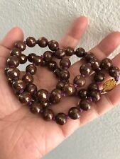 Vintage HandKnotted Brown/g Chinese Porcelain Bead Necklace With Wire Work Clasp