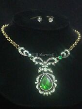 Vintage Downton Victorian style green & antique brass pendant & earrings