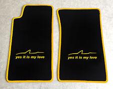 Autoteppich Fußmatten für Mazda MX 5 NA Miata schwarz gelb yes it is my love Neu