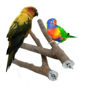 2x Wood Parrot Bird Stand Tree Branch Hanging Toys Cage Perches Pet Budgie
