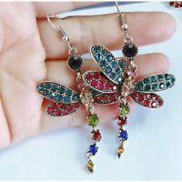 Vintage Crystal Dragonfly Tassel Stud Earrings Dangle Drop Charm Women Party Hot