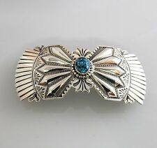 Handmade Native American Sterling Silver Lander County Turquoise Barrette Signed