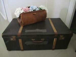 Large Fiberboard Vintage Suitcase with Timber Strapping