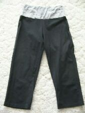 Young Usa Women's Black with White Trim Yoga/Exercise Pants/Capris size S nice