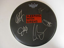 SLEEPING WITH SIRENS AUTOGRAPHED SIGNED DRUMHEAD WITH SIGNING PICTURE PROOF
