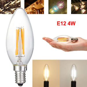 5Pcs 4W E12 Bulbs LED COB Filament Chandelier Dimmable Candle Lights Replacement