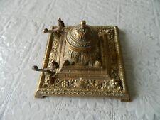 Vintage Ornate Brass inkwell and pen holder