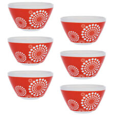Set of 6 Retro White Glass Soup Cereal Salad Serving Bowls Vintage Pyrex Pattern