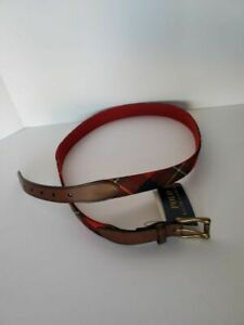 POLO RALPH LAUREN MEN'S LEATHER TRIMMED MANDRAS BELT RED/NAVY MULTI SIZE 40 NWT