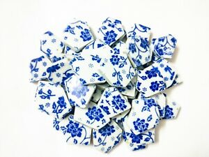 Blue and White Ceramic Mosaic Tiles Tessera For Wall Arts DIY Hand Crafting