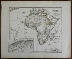 Africa Continent Algeria Cape Colony Egypt Congo 1874 Stulpnagel detailed map