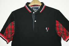 Fred Perry x Izzue Black Low Collar Twin Tipped Tartan Polo Shirt XS RARE Top