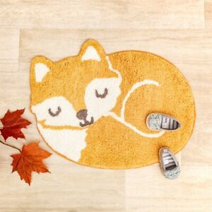 Woodland Fox Rug - 100% Cotton - Nursery And Child's Bedroom Furnishing