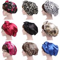 Womens Satin Flower Hair Loss Head Scarf Cancer Hat Chemo Cap Turban Head Wrap