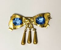 Antique Glass Bow Pin Brooch Blue Glass Stones Gold Tone Dangles with C Clasp
