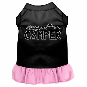 Happy Camper Screen Print Dog Dress Black with Light Pink