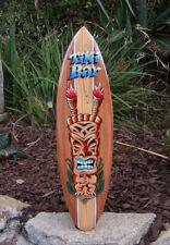 "Happy Tiki Pineapple tropical Wood Surfboard Wall Plaque Tiki Bar 38/"""