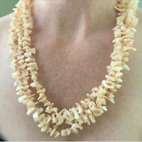 VINTAGE MULTI STRAND BEADED NECKLACE FAUX ANGEL SKIN CORAL MOTHER OF PEARL SHELL