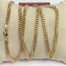 "18k Solid Yellow Gold Italian Flat Curb/Link Unisex Chain Necklace, 22"". 13.91Gr"