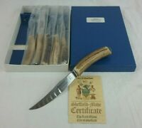 GRANTON Steel Steak Knives X6 STAG HORN HANDLES - Original Case w/ Certificate