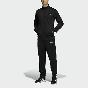 adidas Basics Minimalist Tracksuit Men's Black 2 Piece Set Jacket & Pants New