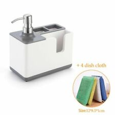 Kitchen Liquid Soap Dispenser With Storage Shelf Organizer Holder Sponge Rack