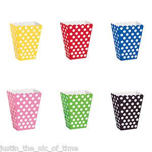 Polka Dots Spots Birthday Baby Shower Summer Party Popcorn Treat Boxes x 8