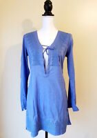 Athleta Womens Tunic Kimssa Swim Suit Cover Up Baja Blue Size Xtra Small
