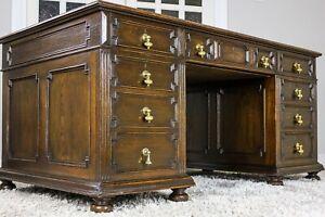 Large Antique Victorian Oak Twin Pedestal Partners Leather Top Writing Desk