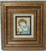 "VINTAGE ETCHING ON PLASTIC BY CARLOS RIOS  "" GIRL WITH A BIRD """