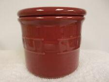 Longaberger Pottery Burgundy Crock Dish Bowl With Lid