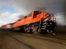 SPEEDING LOCOMOTIVE TRAIN FAST ORANGE PHOTO ART PRINT POSTER PICTURE BMP592A