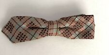 Vintage Clip on Bow Tie Ormond NYC Hipster Tie Wine-Burgundy and Gray Plaid