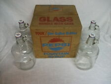 4 Vintage One Gallon Clear Glass Bottle that Held Pepsi Syrup with box.