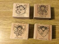 """Stampin' Up! Set of 4 Wooden Mounted Rubber Stamps """"Angel Face"""" Patchwork Doll"""