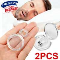 2PK Silicone Magnetic Anti Snore Stop Snoring Nose Clip Sleeping Aid Apnea Guard