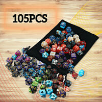 105x Polyhedral Dice Sets Role for DND RPG MTG Game Dragons D4-D20 Playing