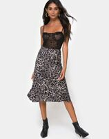 MOTEL ROCKS Tauri Midi Skirt in Leopard Grey XS (mr12)
