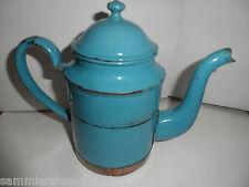 21897 Kaffeekanne Emaille blau blue coffee pot enamel 1900 Kupfermontierung 18cm