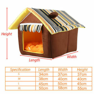 Large Small Fabric Pet Cat Indoor Puppy Dog House Home Shelter Kennel Bed Cave
