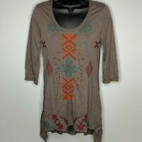 Johnny Was JW Los Angeles Brown Embroidered Tunic Top Hi Lo Hem 3/4 Sleeves S