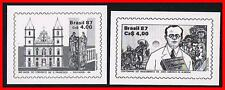 BRAZIL 1987 black prints / schwarzdruck X2 stamps ON glossy PAPER